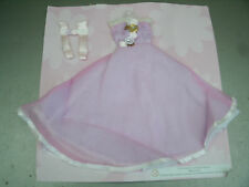 MATTEL QUALITY BARBIE DOLL SIZE THREE TIER LINED PINK DRESS GLOVES AND ROSES