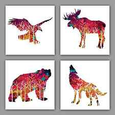 BEAUTIFUL NORTH AMERICAN WILDLIFE ILLUSTRATION 4 PCE WALL ART SET CANVAS PRINTS
