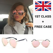 Rose Gold Mirrored Hexagon Oversized Sunglasses NEW DESIGN UK SELLER FREE CASE