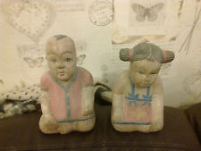 VINTAGE CHINESE BOY AND GIRL WOODEN STATUE COULD BE USED AS BOOKENDS