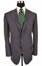 ISAIA Napoli Gray Check SUPER 120's Wool 2pc Suit Jacket Pants EU56 US 46 R