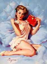 RETRO PINUP GIRL QUALITY CANVAS PRINT A4 Vintage  Poster Gil Elvgren Bed Diary