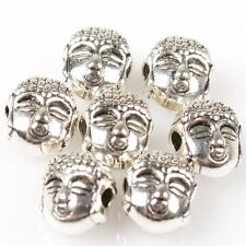 70pcs Hot Silver Plated Tone Buddha Head Charms Alloy Spacer Beads Carfts D