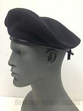 NEW US MILITARY ISSUE INSPECTION READY BLACK WOOL BERET SIZE 7 MEDIUM DSCP