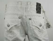 """$220 Mens Rock Revival Jeans """"Miami Vice White"""" Twill Stitching Straight 33 X 33"""