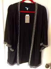 LEIFNOTES Anthropologie Black Open Front Blouse Cape Poncho Top Beads L NWT New
