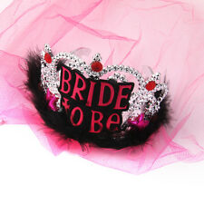 Bride To Be Tiara Rose Red Veil Black Feather Girl Night Bridal Shower Decor