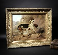 Original antique oil painting on canvas,hunting dog(s) pointer frame E. LANDSEER