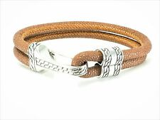 Stainless Steel Brown Leather Mens Bracelet Bangle Cuff Men's Womens Unisex
