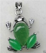 HOt ! Rare Natural green jade Carved frog pendant necklace