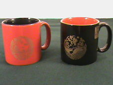Two 4 oz Japan Starbucks Mugs Black Red Gold 2011 Limited Edition