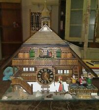 VINTAGE COLLECTIBLE CUCKOO CLOCK LODGE SCENE WITH DANCERS MADE IN GERMANY