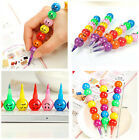 2PCS Cute Stacker Swap 7 Colors Smile Face Crayons Children Drawing Gift BOS