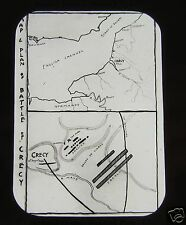 JV Glass Magic lantern slide BATTLE OF CRESSY MAP C1890 ENGLISH HISTORY CRECY