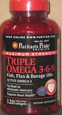Maximum Strength Triple Omega 3-6-9 Fish Flax Borage Oils 3,600mg 120 Softgels