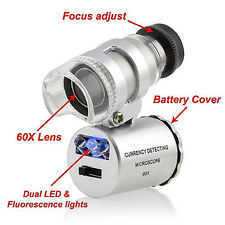 60x Handheld Mini Pocket Microscope Loupe Jeweler Magnifier LED Light Vogue