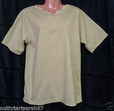"Ladies Biscuit Embroidered Cotton T Top S/S Size F/S 38-40"" EX COND"