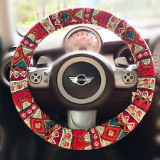 Car Steering wheel cover- Red zigzag Aztec Chevron Cross Multicolor BOHO Print