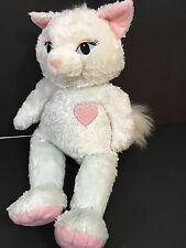 Build-A-Bear Plush White Kitty Sassy Cat Stuffed Animal Pink Ears Heart 19""