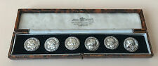 LOVELY LARGE STERLING SILVER CASED SET OF 6 BUTTONS, C1900