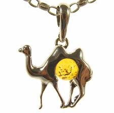 GIFT BOXED BALTIC AMBER STERLING SILVER 925 CAMEL PENDANT JEWELLERY JEWELRY