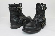 UGG COLLECTION ELISABETA WEAVE MOTO BUCKLE NERO BLACK BOOTS WOMENS SIZE 7 US