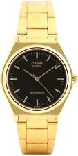 Casio MTP1130N-1A Mens Gold Tone Stainless Steel Analog Watch NEW Black Dial
