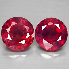 8.94CTS GORGEOUS LUSTER RARE 9.5MM ROUND CUT MADAGASCAR NATURAL RUBY PAIR