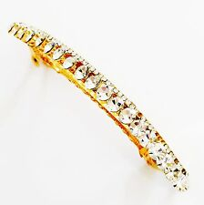 USA BARRETTE Using Swarovski Crystal Hair Clip Pin Accessory Long Gold Clear