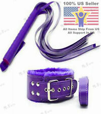 Purple Combo Adult Bondage Sex Whip & Sex Collar With Leash Neck Restraint Set