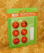 Basketball Topper Candle Holders/Candle,6 ct.Bakery Crafts,Orange,C-2020
