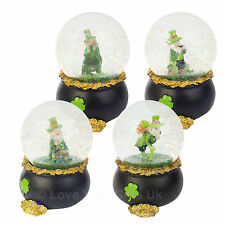 Lucky Leprechaun Pot of Gold Waterball Snow Globe 9cm Irish Folklore Good Luck