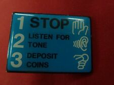 New Vintage Blue Stop 123 Signs for Payphones Payphone Western Electric GTE