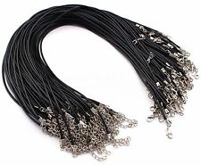 "100 Imitation Leather Cord Necklaces- Black - 17"" With Lobster Clasp - 2mm Thick"