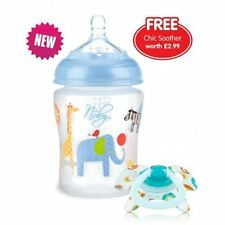 Nuby 92444 Natural Touch Decorated Feeding Bottle Blue 270ml / 9oz