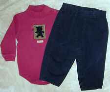 18 month boys maroon Carter's bodysuit with black bear & black BABY ROOTS pants