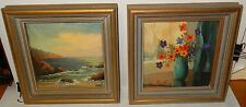 PAIR OF SMALL VERNE OF LAGUNA BEACH FLORAL VASE AND LANDSCAPE PAINTINGS