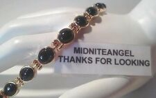 BLACK ONYX OVAL STONE MAGNETIC LADIES BRACELET JEWELRY HEALTH THERAPY USA SELLER