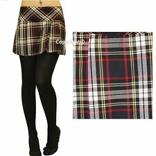 "Ladies Short Box Pleat Pleated Skirts Micro Mini 14"" Inch Tartan Skirt Size 8-18"