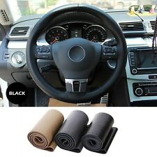 Real 40cm Genuine Leather Steering Wheel Cover with Needle Thread for BENZ Black