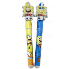 SpongeBob Ball Point Pen Set Refillable Black Ink 2pcStationery Yellow Blue