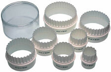 KitchenCraft 7 Nylon 38mm-98mm Fluted & Plain Pastry Biscuit Scone Cutters +Case