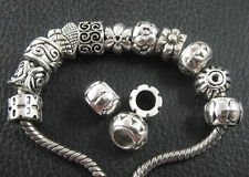 Lot of 100 Mixed EUROPEAN CHARM Antique Silver Metal Lrg Hole Spacer BEADS H65