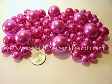 80 Unique Jumbo & Assorted Sizes HOT PINK/FUCHSIA Pearls Vase Fillers Value Pack