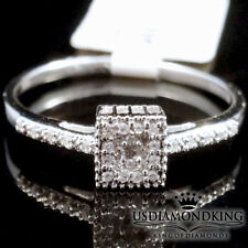 Women's Ladies Designer 10k White Gold Genuine Diamond Wedding Engagement Ring