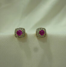 9ct Gold Ruby & Diamond Stud Earrings  6mm X 6mm square