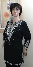DK ENCORE by DANIEL KIVIAT Embroidered Primo Peach Skin feel black Tunic top,XS