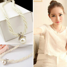 Ladies Crystal Choker Pendant Chunky Pearl Statement  Necklace Chain Jewel
