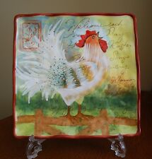 """LE ROOSTER SUSAN WINGET CERTIFIED INTERNATIONAL SQUARE PLATE 10 1/2"""""""