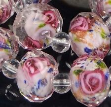 14 Czech Glass Faceted Rondelle Beads - Encased Rose Flower 12x8mm